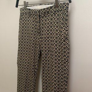 Fitted High Waisted Geometric Floral Trousers